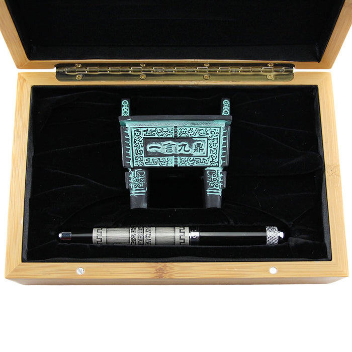 Jinhao189 Vintage Black Ink Rollerball Pens with Ancient Chinese Quadripod Wood Case Luxury