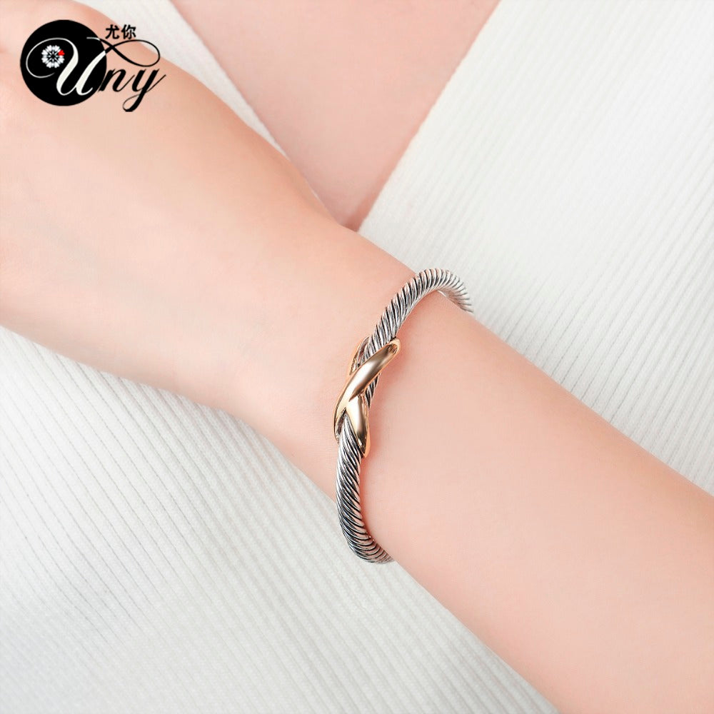 Uny Bangle Twisted Cable Wire Bracelet Antique Bangles Cross Fashion D Jyards