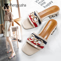 Brand designer mixed colors striped gladiator sandals woman chains decorate slides summer high quality shoes flip flops mujer
