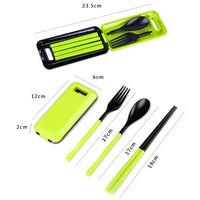 Portable Folding Outdoor Camping Hiking Tableware Dinnerware Set Cutlery Fork Chopsticks Set Bento Lunch Box Accessories MJ