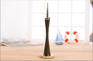 Vintage Canton Tower Desk Stand Bronze Moscot Metal Tower Building Statue Decorartive