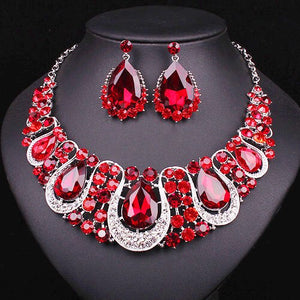 Fashion Silver Plated Indian Crystal Statement Necklace Drop Earrings set Bridal Jewelry Sets Wedding Party Costume Accessories