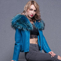 Winter Jacket Women 2020 Women Real Sheep Fur Coat Warm Genuine Merino Sheepskin Leather Parka Large Real Raccoon Fur Coats