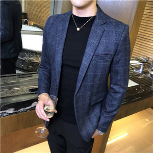 Autumn Mens Long Sleeve Blazers Business Casual Male Lattice Blazer Jacket Slim Fit Grid Suit Coats