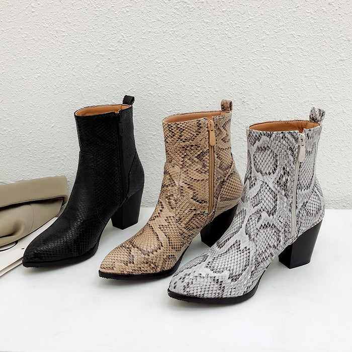 Women Snakeskin Leopard Toe Zip Thick Pointed Boots Shoes High Shoes Boots Woman winter =