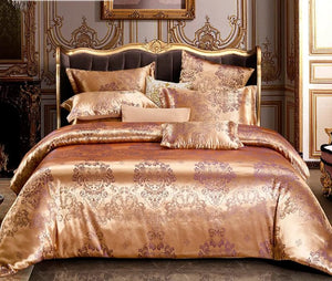 Liv-Esthete Euro Palace Jacquard Luxury Bedding Set Double Queen King Duvet Cover Flat Sheet Decorative Bed Linen For Wedding