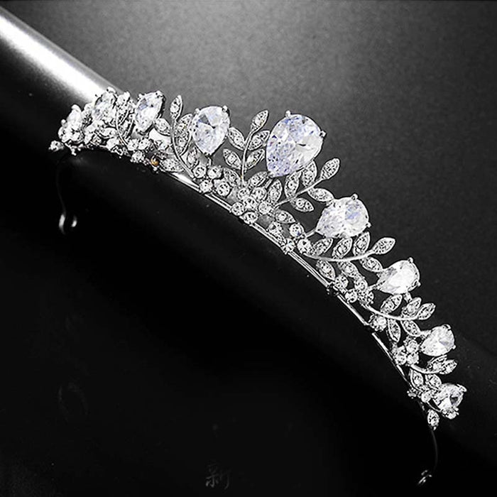 Women Luxury Tiaras Crowns Silver Leaves Pageant Prom Headpiece Bride Wedding Shining Rhinestone