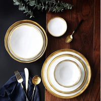 European Style Ceramic Gold Plate Retro Porcelain Tableware Set Matte Steak Dessert Tray Kitchen Dinner Plate Dish Large Bowl