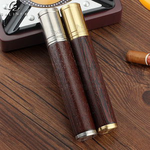 LUBINSKI Metal Wood Cigar Tube Holder Portable Single Cigar Case Professional Cigars Travel Humidor Box With Gift Box