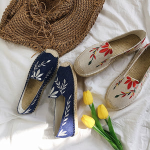 Leaves patterns embroidery fisherman shoes women flat slip on loafers ladies creepers lazy single shoes mules flats espadrilles