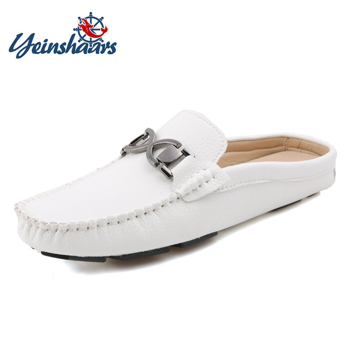 YEINSHAARS Men Half Slippers Summer Slip On Comfortable Outside Men's Slipper Shoes Leather Handmade Sewing Casual Driving Shoes