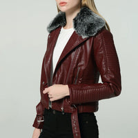 2019 Hot Women Winter Warm Faux Leather Jackets with Fur Collar Lady White Black Pink