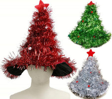 Christmas tree shape hat Children Adults party prop Caps red green gold silvery