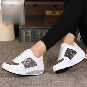 Women's Ladies Wedges Sneakers Sequins Shake Shoes Fashion Girls Sport Shoes women sneakers woman sneakers shoes 2019 white shoe