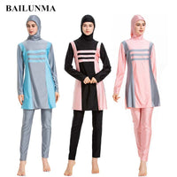 BAILUNMA Burkinis Muslim Swimwear Women Modest Swimsuit Islamic Swim Wear Long Sleeve Full Cover Costume Swimming Suit for Women