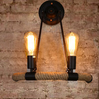 Vintage Retro Led Indoor Wall Lamp Loft Industrial American Style Aisel Bedside Room Wall Sconce Lights Fixture Hemp Rope Decor