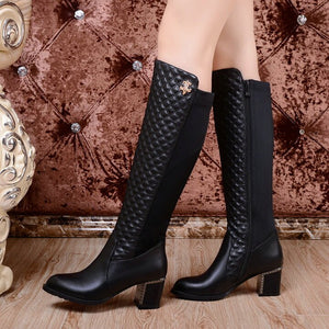 Women Knee High Boots Winter Warm Fur Thikc High Heel Zipper Boots High Quality Pu Leather Long Boots Fashion Woman Shoes 2018