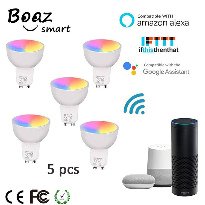 Smart Led Bulb GU10 Google Home Bulb Alexa LED Smart Bulb RGBW Color Changing Wifi