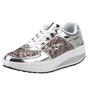 Women's Ladies Wedges Sneakers Sequins Shake Shoes Fashion Girls Sport Shoes women sneakers