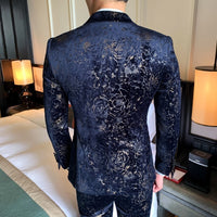 Gentleman Mas Suit Printing Velvet Dinner Full Dress Men Business Social Wedding Smoking Mariage Homme Stylish Prom Jackets Club