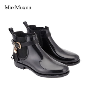 MaxMuxun Women's  Rubber Ankle Rain Boots Black Fringe Causal Snow Booties Female Waterproof Slip On Chunky Footwear Shoes