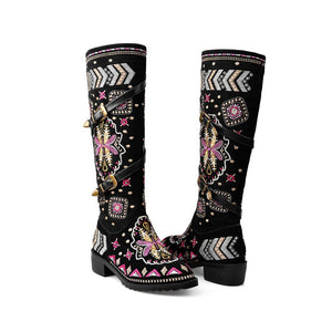 QUTAA 2020 Winter Thick Heel Buckle Decoration Knee High Boots Cow Leather Vintage
