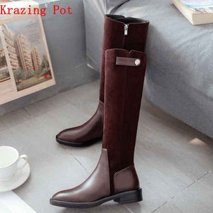Krazing Pot 2019 full grain leather zipper limited customization med heels patch work luxury riding rivets knee high boots L7f9