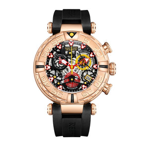 Reef Tiger/RT Top Brand Mens Sport Watches Chronograph Rose Gold Skeleton Watches Waterproof