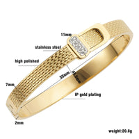 Classic Open Cuff Bangles Lover Bracelets Women Rose Gold Color Stainless Steel CZ Crystal Bracelet Pulseiras Wristband Jewelry