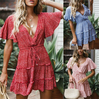 Women Elegaht Floral Dress Summer Ladies Boho Beach Sundress Holiday Flare Sleeve V-neck Mini Dress High Waist Lace-up Dresses