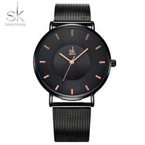 Shengke Top Luxury Brand Ultra Thin Fashion Black Women Watches New Ladies Clock Woman Dress Watch Relogio Feminino SK