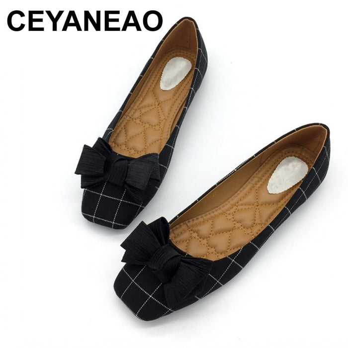 CEYANEAO Autumn Brand Woman Flats Shoes Slip On Women Square Toe Single Shoes Ladies