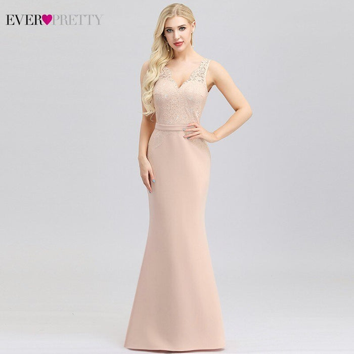 Ever Pretty Pink Lace Evening Dresses Long V-Neck Embroidery Elegant Little Mermaid Dresses