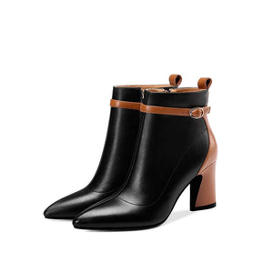 ZVQ 2019 newest fashion mixed colors genuine leather winter ankle boots pointed toe super high