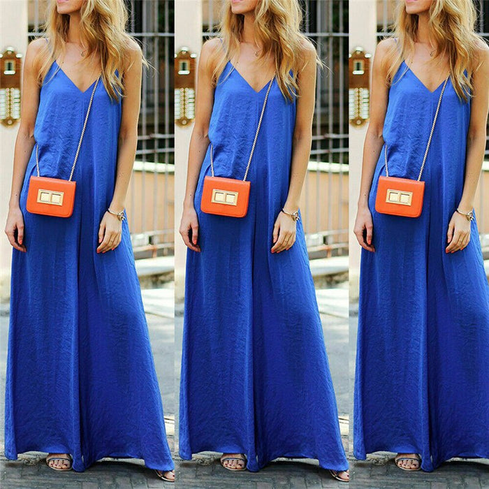 New Women Fashion Sleeveless Blue Jumpsuit Romper Ladies Summer Beach Casual Solid Color