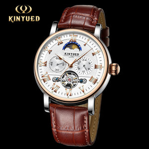 KINYUED Skeleton Automatic Watch Men Tourbillon Moon Phase Mechanical Watches Rose Gold Waterproof Montre Homme Automatique Hour