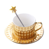 The West Luxury Style Gold Coffee Cup & Saucer Sets Spoon Tasse Taza Copo Scented
