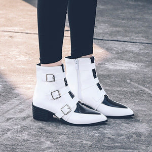 VANKARING mixed color autumn winter casual shoes european American fashion women pu leather ankle boots for women chelsea boots