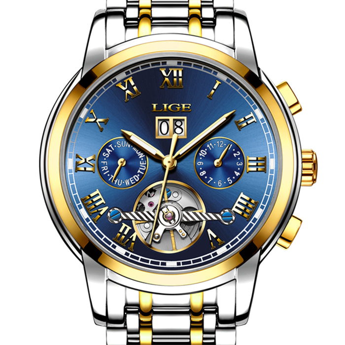 LIGE Mens Watches Top Brand Luxury Automatic Mechanical Watch Men Full Steel Business Waterproof