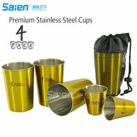 Premium Stainless Steel Cups 11oz Pint Cup Tumbler (4 Pack) By Gold  - Premium Metal Cups - Stackable Durable Cup