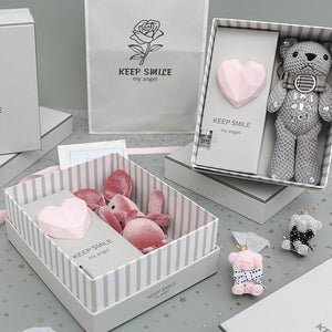 Free shipping 1set bear rabbit doll small fresh creative practical mother's day daughter son girl boyfriend Birthday gift box