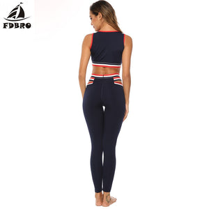 FDBRO Sport Suit Women Gym Yoga Set 2 Pieces Women Sportwear Workout Set Fitness Yoga Wear Sports Bra Top Leggings Tracksuit