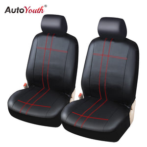 AUTOYOUTH PU Leather Universal Car Seat Covers 2 Front Automotive Seat Covers For peugeot 307 golf 4 mercedes toyota focus 2