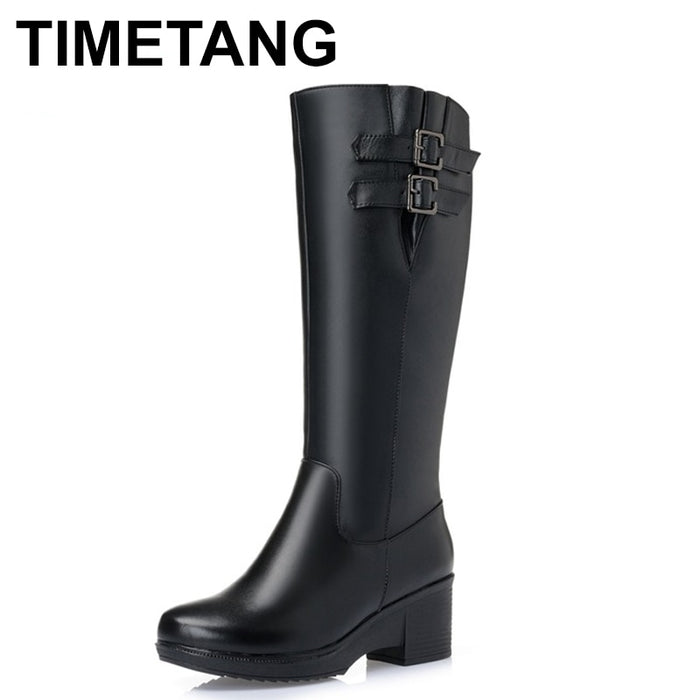 TIMETANG   Women Winter Shoes High Quality Knee High Boots Women's Winter Shoes Natural