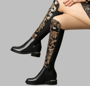 MORAZORA SIZE 34-42 HOT 2019 genuine leather boots women autumn winter boots bling fashion stretch knee high boots ladies shoes