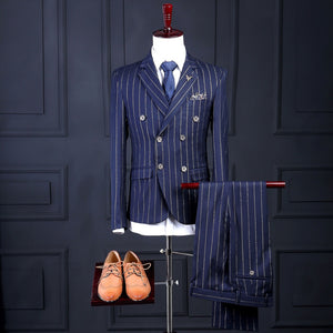 2020 Striped Men Suit Latest Coat Pant Designs Fashion Formal Custom Made Blazer Men Suits(Jacket+Pant+Tie+Vest+Handkerchiefs)