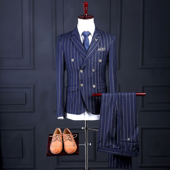 2020 Striped Men Suit Latest Coat Pant Designs Fashion Formal Custom Made Blazer Men Suits