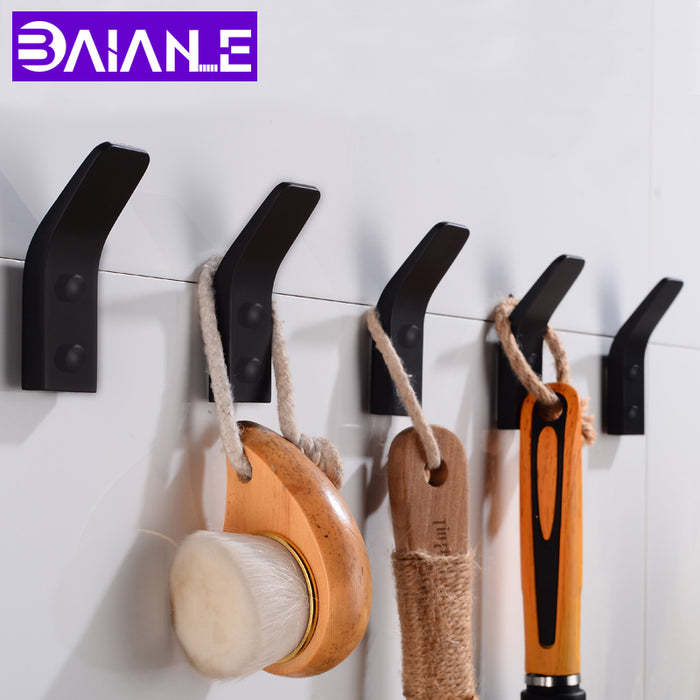 Robe Hooks Black Bathroom Hook for Towels Wall Mounted Decoration Coat Hooks Rack Clothes