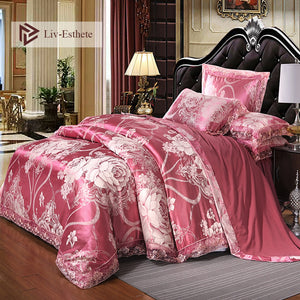 Liv-Esthete European Luxury Satin Jacquard Bedding Set Lace Side Duvet Cover Flat Sheet Bedclothes Double Queen King Bed Linen