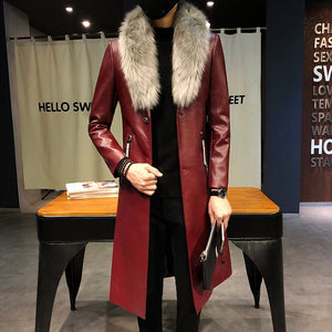 Big Fur Collar  Mens faux Leather Trench Coats Men Overcoats Luxury Veste Homme Gold